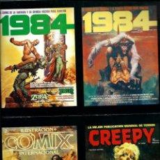 Cómics: LOTE DE 4 POSTALES CON PORTADAS DE REVISTAS DE TOUTAIN EDITOR - 1984, CREEPY Y COMIX INTERNACIONAL. Lote 135760018