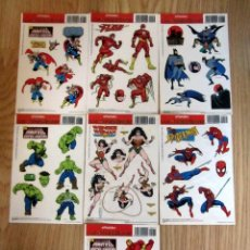 Fumetti: PEGATINAS MARVEL DC LOS SUPER HEROES HULK WONDER WOMAN SPIDER MAN IRON MAN FLASH BATMAN THOR 1996. Lote 143882978