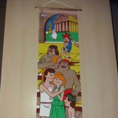 Cómics: ANTIGUO CARTEL, BANDERÍN DE TELA Y MADERA ÉRASE UNA VEZ... AÑOS 70 - NUEVO¡¡. Lote 195096296