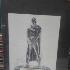 Cómics: THE MAN OF STEEL.DIBUJO EL HOMBRE DE ACERO ENMARCADO Y FIRMADO POR ALEX ROSS #. Lote 146886946