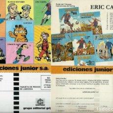 Cómics: FOLLETO PUBLICITARIO - TARJETA DE PEDIDO DE TEBEOS DE ERIC CASTEL DE EDICIONES JUNIOR AÑOS 80 - BIEN. Lote 147727938