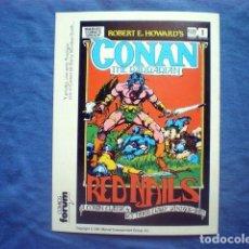 Cómics: POSTAL CONAN THE BARBARIAN RED NAILS MARVEL FORUM CLAVOS ROJOS. Lote 169817832