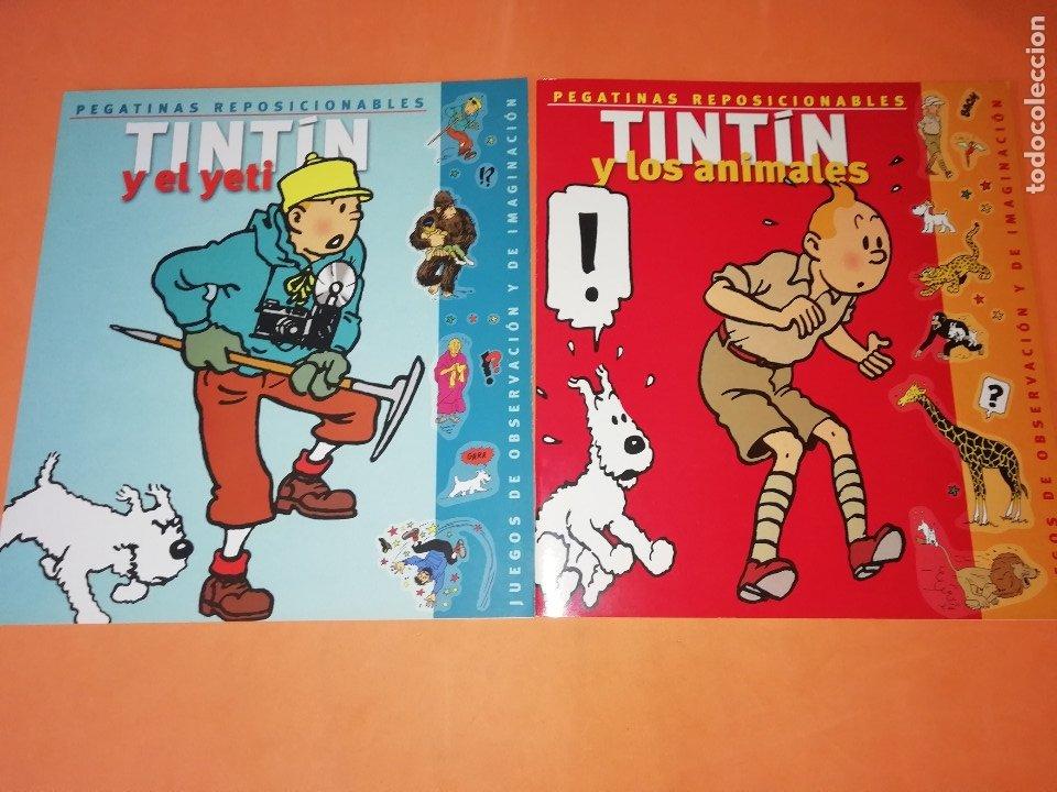 TINTIN. PEGATINAS REPOSICIONABLES. TINTIN Y EL YETI .TINTIN Y LOS ANIMALES. EDITORIAL ZENDRERA. 2002 (Tebeos y Comics - Comics Merchandising)