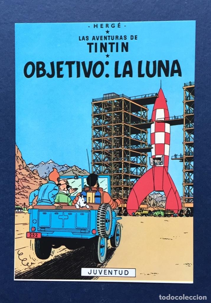 FLYER TARJETA PUBLICITARIA TIPO POSTAL JUVENTUD - TINTIN OBJETIVO LA LUNA - CARTULINA BRILLANTE (Tebeos y Comics - Comics Merchandising)