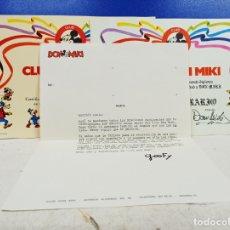 Cómics: LOTE DIPLOMA SOCIO NUMERARIO + DIPLOMA DE SOCIO CLUB DON MIKI + CARTA DE LA EPOCA 1976 1977. Lote 183177387