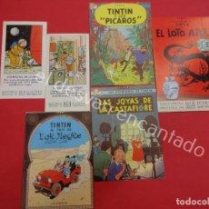 Cómics: TINTIN. LOTE DE TARJETAS PROMOCIONALES DE EDITORIAL JUVENTUD. AÑOS 1990S. Lote 194671638