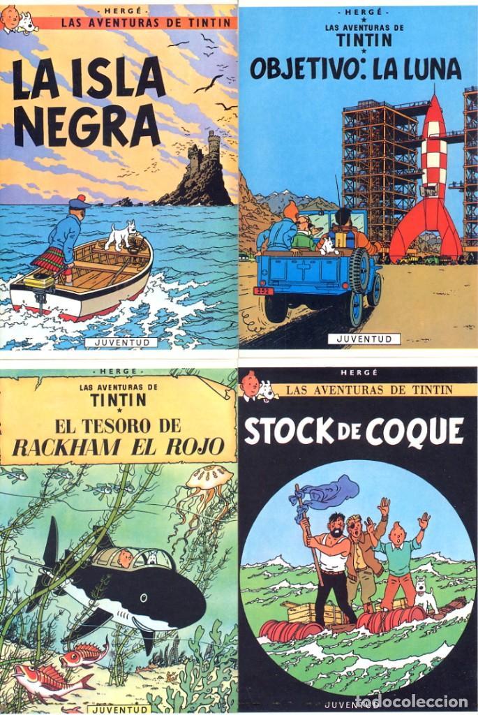 LOTE DE 8 CARTULINAS TIPO POSTALES DE TINTIN - LAS 4 DE LA FOTO Y OTRAS 4 IGUALES - DORSO BLANCO (Tebeos y Comics - Comics Merchandising)