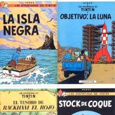 Cómics: LOTE DE 8 CARTULINAS TIPO POSTALES DE TINTIN - LAS 4 DE LA FOTO Y OTRAS 4 IGUALES - DORSO BLANCO. Lote 205476635