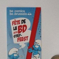 Cómics: MARCA PAGINAS LOS PITUFOS FETE DE LA BD STRIP FEEST BRUSELAS 2015. Lote 218748222