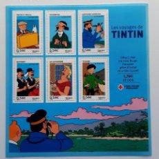 Cómics: TINTIN - SELLOS LOS VIAJES DE TINTIN - CRUZ ROJA FRANCESA. Lote 218848197
