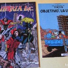 Cómics: DOS POSTALES, BLANCAS POR DETRAS/ MARCA PAGINAS: TINTIN OBEJTIVO LA LUNA, IBERIA INC. 14,3X1, 17X11. Lote 222441998