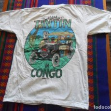 Cómics: CAMISETA TINTIN EN EL IN CONGO. REGALO CAMISETA EL LOTO AZUL ORIGINAL HERGÉ MOULINSART.. Lote 39487974