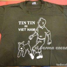 Cómics: TINTIN IN VIETNAM. ANTIGUA CAMISETA SERIGRAFIADA. TALLA M. Lote 237325990
