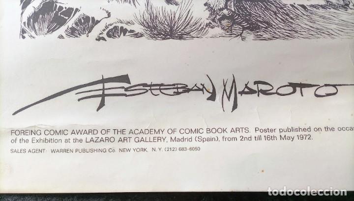 Cómics: CARTEL POSTER - ESTEBAN MAROTO - 1972 - GALERIA LAZARO - premio FOREING COMIC AWARD - 69,5x50cm - Foto 7 - 238542850