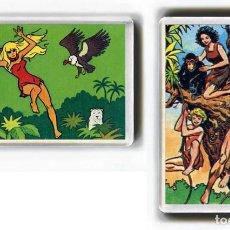Cómics: LOTE DOS IMANES ACRILICOS NEVERA - COMIC JANA / TARZAN. Lote 248109695