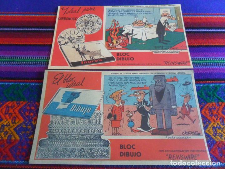 LOTE 2 PAPEL SECANTE MORTADELO Y FILEMÓN Y DOÑA URRACA PUBLICIDAD BLOC DIBUJO INGRES. 15,5X9 CMS. BE (Tebeos y Comics - Comics Merchandising)