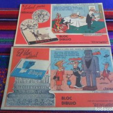 Fumetti: LOTE 2 PAPEL SECANTE MORTADELO Y FILEMÓN Y DOÑA URRACA PUBLICIDAD BLOC DIBUJO INGRES. 15,5X9 CMS. BE. Lote 261343135