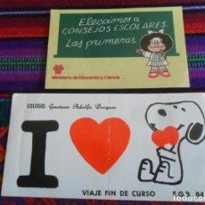 Cómics: PEGATINA I LOVE SNOOPY COLEGIO GUSTAVO ADOLFO BEQUER VIAJE FIN DE CURSO EGB 84 85. REGALO MAFALDA.. Lote 289736183