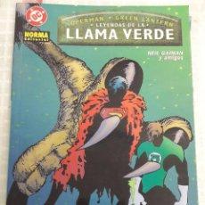 Cómics: SUPERMAN - GREEN LANTERN. LEYENDAS DE LA LLAMA VERDE. NEIL GAIMAN. NORMA 2002 TAPA BLANDA.. Lote 98020691