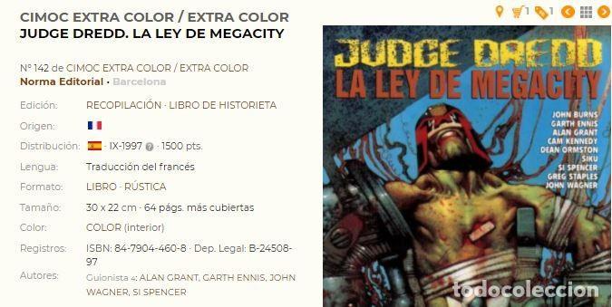 Cómics: JUDGE DREDD – La ley de megacity – Cimoc Extra Color 142 NORMA 1997 – Juez - Foto 2 - 55389446