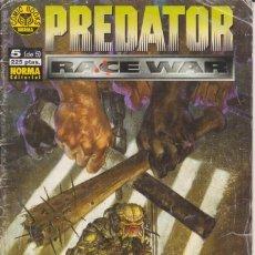 "Cómics: CÓMIC PREDATOR "" RACE WAR"" Nº 5 ( DE 5 ) ED, NORMA. Lote 227581265"