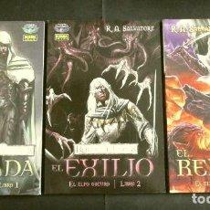 Cómics: REINOS OLVIDADOS - EL ELFO OSCURO - LIBROS: 1 - MORADA, 2 - EXILIO Y 3 - REFUGIO - R.A. SALVATORE. Lote 286236023