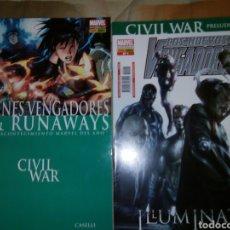 Cómics: JÓVENES VENGADORES RUNAWAYS Y PRELUDIO CIVIL WAR. Lote 80499127