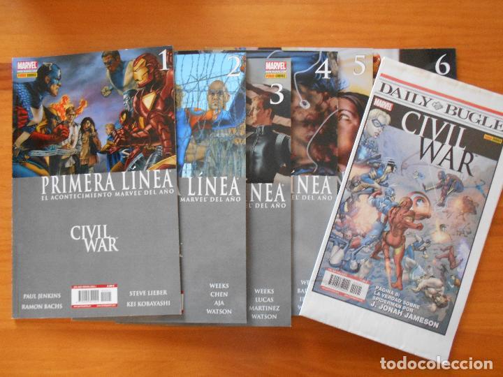 CIVIL WAR - PRIMERA LINEA - COMPLETA - NUMEROS 1,2,3,4,5 Y 6 + PERIODICO DAILY BUGLE - PANINI (8Y) (Tebeos y Comics - Panini - Marvel Comic)