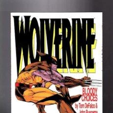 Cómics: WOLVERINE LOBEZNO ELECCIONES SANGRIENTAS EN INGLES MARVEL 1993 TOM DEFALCO JOHN BUSCEMA NO FORUM. Lote 176610784