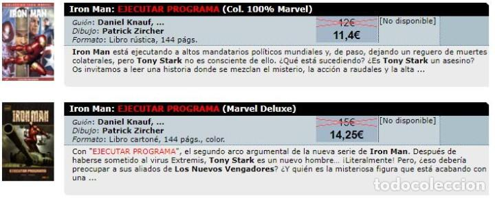 Cómics: Colección 100% MARVEL - IRON MAN - EJECUTAR PROGRAMA - PANINI 2007 - MUY BUEN ESTADO - Foto 2 - 205352022