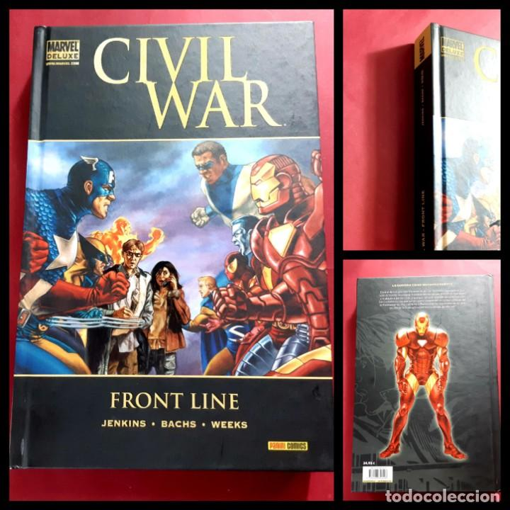 CIVIL WAR FRONT LINE TOMO MARVEL DE LUXE -IMPECABLE ESTADO (Tebeos y Comics - Panini - Marvel Comic)