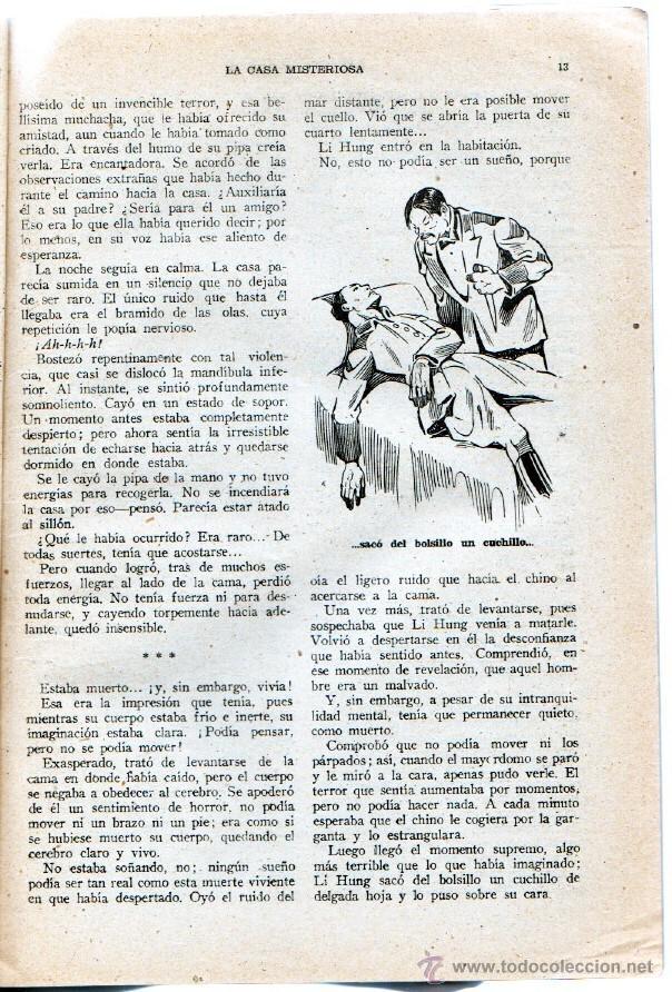 Cómics: LA NOVELA QUINCENAL Nº 33 - LA CASA MISTEROSA por SIDNEY HORLER- AÑO 1942 HISPANO AMERICANA - Foto 2 - 55040582