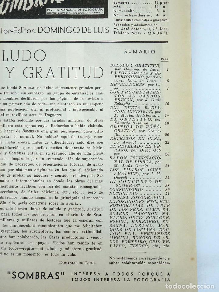 Cómics: SOMBRAS. REVISTA FOTOGRÁFICA NºS 13 A 24 ENCUADERNADOS EN UN TOMO. BUEN ESTADO, 1945 - Foto 5 - 97781452
