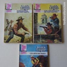Cómics: LOTE 3 KEITH LUGER UN AVE DE PASO AHORCADOS SAN MATEO TORMENTA RÍO SECO ASES OESTE AÑOS 80 BRUGUERA. Lote 221283811