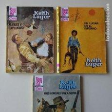 Cómics: LOTE 3 KEITH LUGER TRES HOMBRES VAN MORIR LUGAR INFIERNO FUERTE EXPLOSIVO ASES OESTE BRUGUERA. Lote 221285253