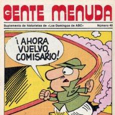 Cómics: GENTE MENUDA Nº40 (SUPLEMENTO ABC) PÓSTER DE EL INSPECTOR, DICK EL ARTILLERO, SAMMY,... Lote 10049070