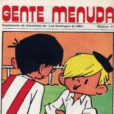Cómics: GENTE MENUDA Nº61 (SUPLEM. ABC) PÓSTER DE MILIKITO (PAYASOS DE LA TELE), PININ, FLASH GORDON.... Lote 10101225