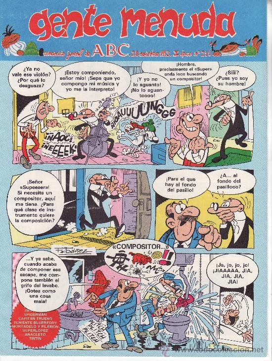 ......GENTE MENUDA SEMANARIO JUVENIL DE ABC III EPOCA Nº 211 (Tebeos y Comics - Suplementos de Prensa)