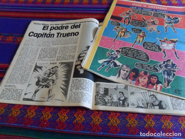 INTERVIU ENTREVISTA VÍCTOR MORA Y LA CODORNIZ CON CAPITÁN TRUENO DE BERNAL. AÑOS 70. RAROS. (Tebeos y Comics - Suplementos de Prensa)