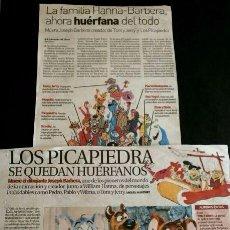 Cómics: HANNA-BARBERA RECORTES DIARIO (DIC-2006) MUERE JOSEPH BARBERA CREADOR DE TOM Y JERRY, LOS PICAPIEDRA. Lote 96539691