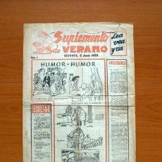 Cómics: SUPLEMENTO DE VERANO, Nº 1, HUMOR - SUPLEMENTO DEL DIARIO LEVANTE 1953 - TAMAÑO 44X30 CM.. Lote 146486970