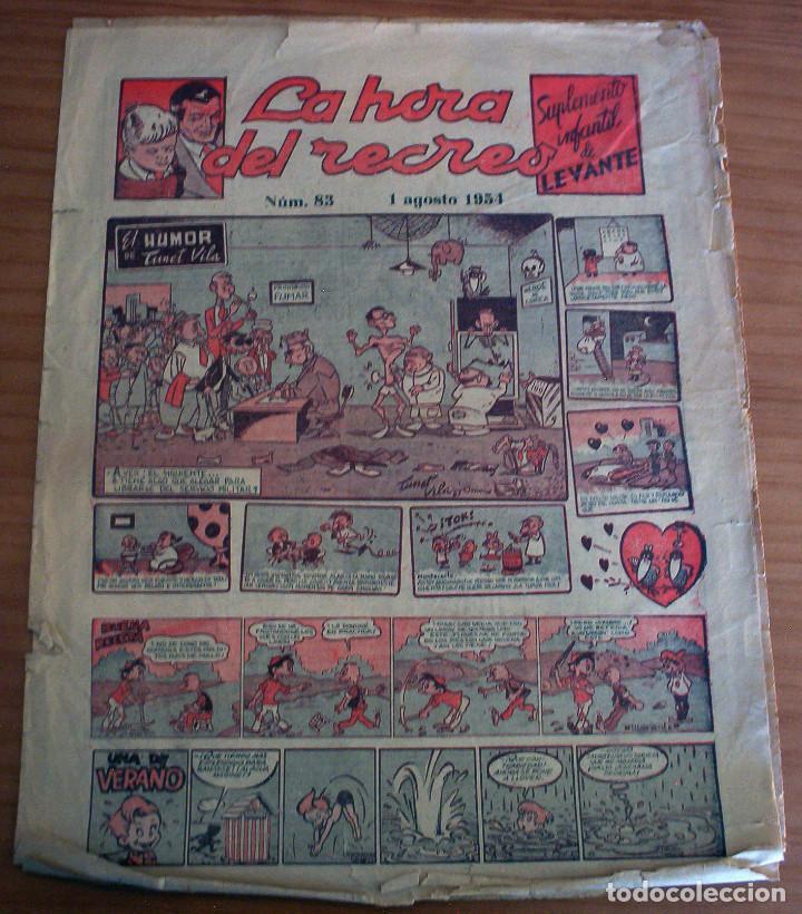 LA HORA DEL RECREO - SUPLEMENTO INFANTIL DE LEVANTE - NÚM. 83 - AÑO 1954 (Tebeos y Comics - Suplementos de Prensa)