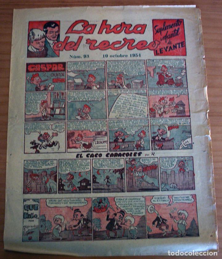 LA HORA DEL RECREO - SUPLEMENTO INFANTIL DE LEVANTE - NÚM. 93 - AÑO 1954 (Tebeos y Comics - Suplementos de Prensa)