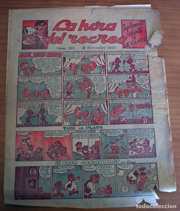LA HORA DEL RECREO - SUPLEMENTO INFANTIL DE LEVANTE - NÚM. 154 - AÑO 1955 (Tebeos y Comics - Suplementos de Prensa)
