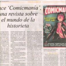 Cómics: TEBEOS Y COMICS EN LA PRENSA: CARLOS GIMENEZ, COMICMANIA, TINTIN, BATMAN, PACO ROCA, VAMPIRELLA ..... Lote 164303198