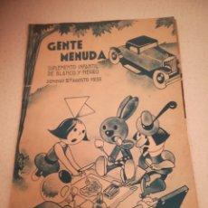 Cómics: GENTE MENUDA. SUPLEMENTO INFANTIL DE BLANCO Y NEGRO. 27 AGOSTO 1933. Lote 184390547