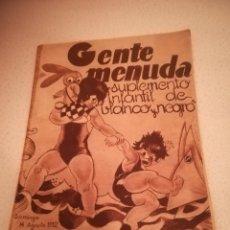 Cómics: GENTE MENUDA. SUPLEMENTO INFANTIL DE BLANCO Y NEGRO. 14 AGOSTO 1932. Lote 184391385