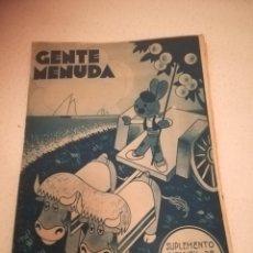 Cómics: GENTE MENUDA. SUPLEMENTO INFANTIL DE BLANCO Y NEGRO. 12 AGOSTO 1934. Lote 184392152