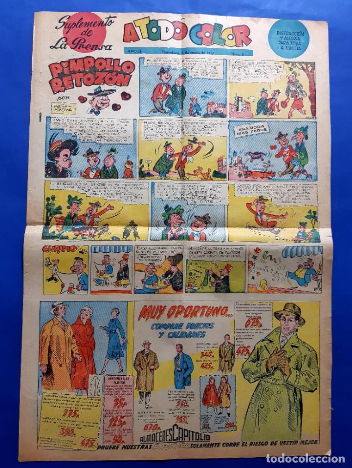 Cómics: SUPLEMENTO DE LA PRENSA Nº 8 - año 1953 PEÑARROYA-VICTOR MORA...GRAN FORMATO DESPLEGADO-39 x 69 cms - Foto 4 - 217911825