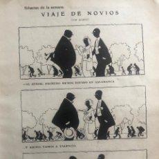 Cómics: PÁGINA HUMORÍSTICA ORIGINAL AÑO 1935. VIAJE DE NOVIOS, POR EL DIBUJANTE SILENO. BUEN ESTADO. Lote 269079168